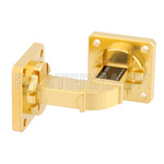 WR-51 Instrumentation Grade Waveguide H-Bend with UBR180 Flange Operating from 15 GHz to 22 GHz