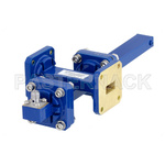 WR-51 Waveguide 40 dB Crossguide Coupler, Square Cover Flange, SMA Female Coupled Port, 15 GHz to 22 GHz, Bronze